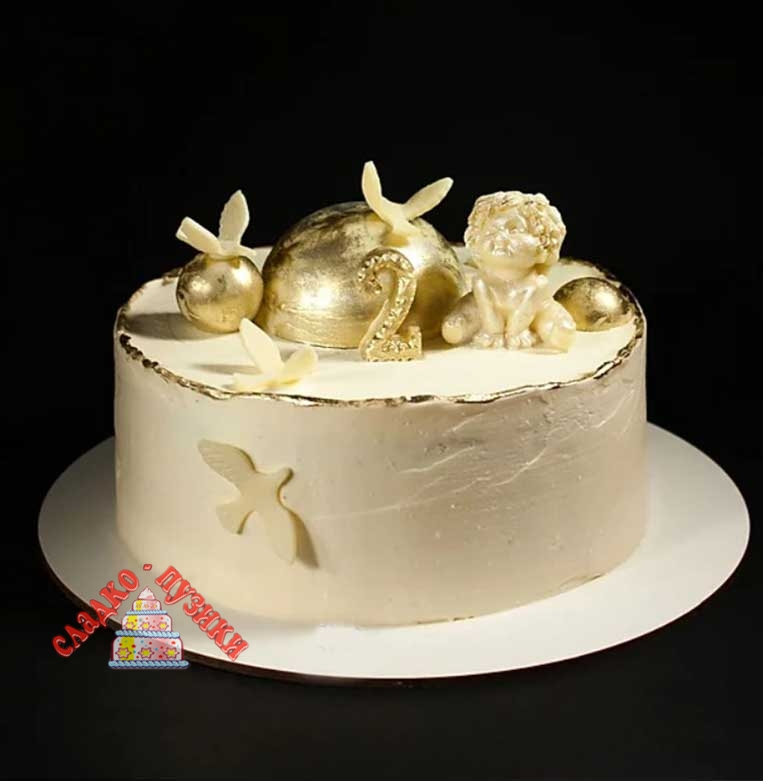 Детский торт золотой