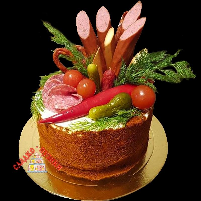 Соленый торт «Колбаска»
